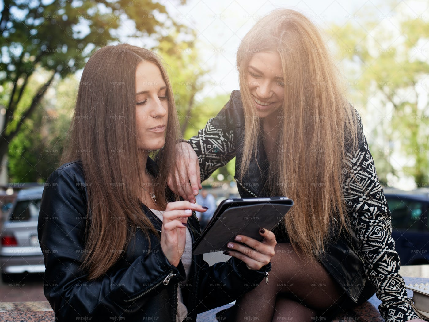 Two Women Using Tablet: Stock Photos