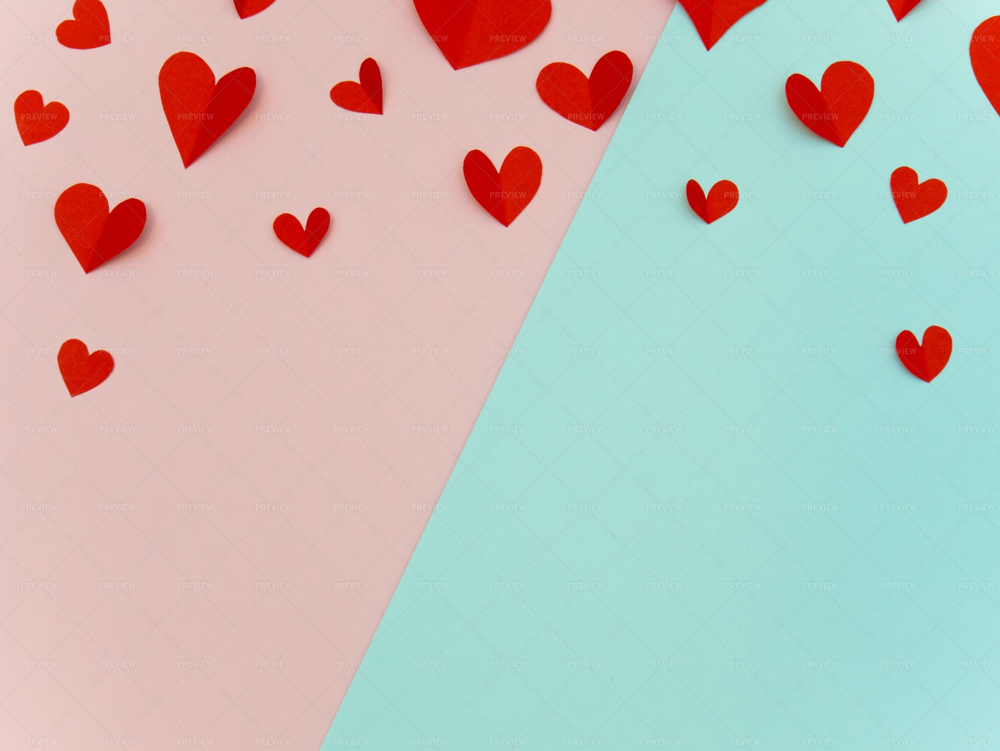 Red Paper Hearts Background: Stock Photos