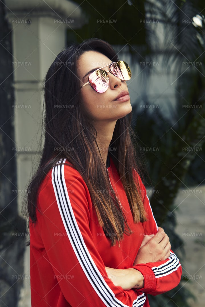 Red Track Suit And Sunglasses: Stock Photos