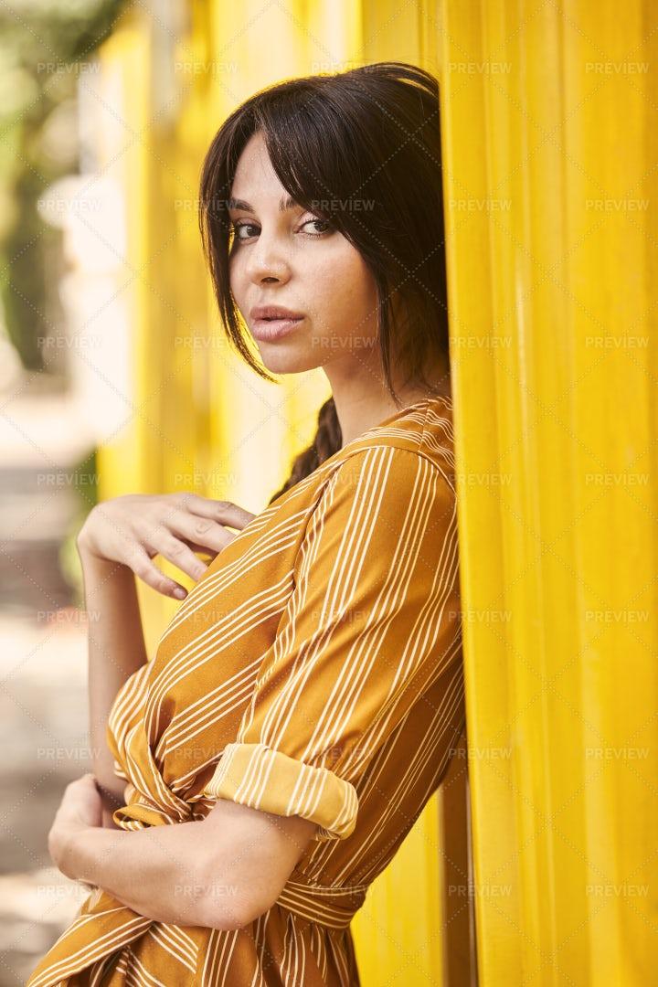 Woman In Yellow Dress: Stock Photos