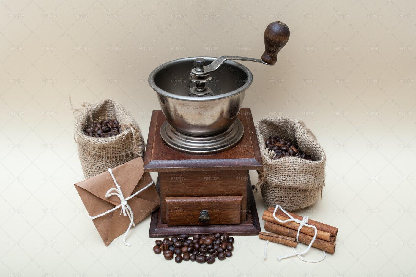 Antique Coffee Grinder: Stock Photos