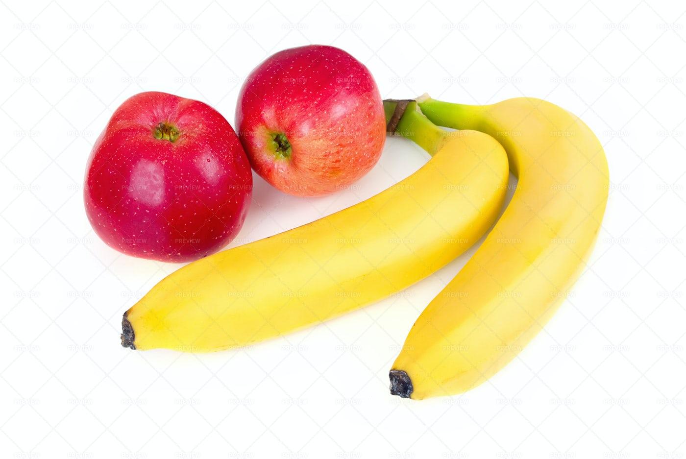 Fresh Apples And Bananas: Stock Photos