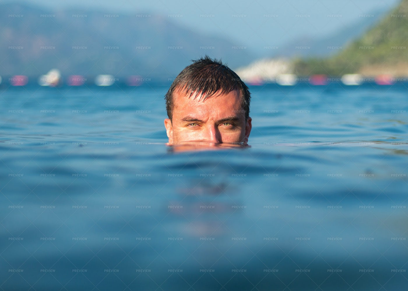 Half Face Immersed In Water: Stock Photos