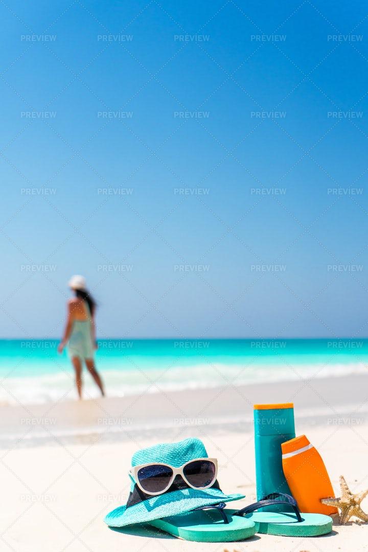 Suncream Bottles, Sunglasses, Flipflops: Stock Photos