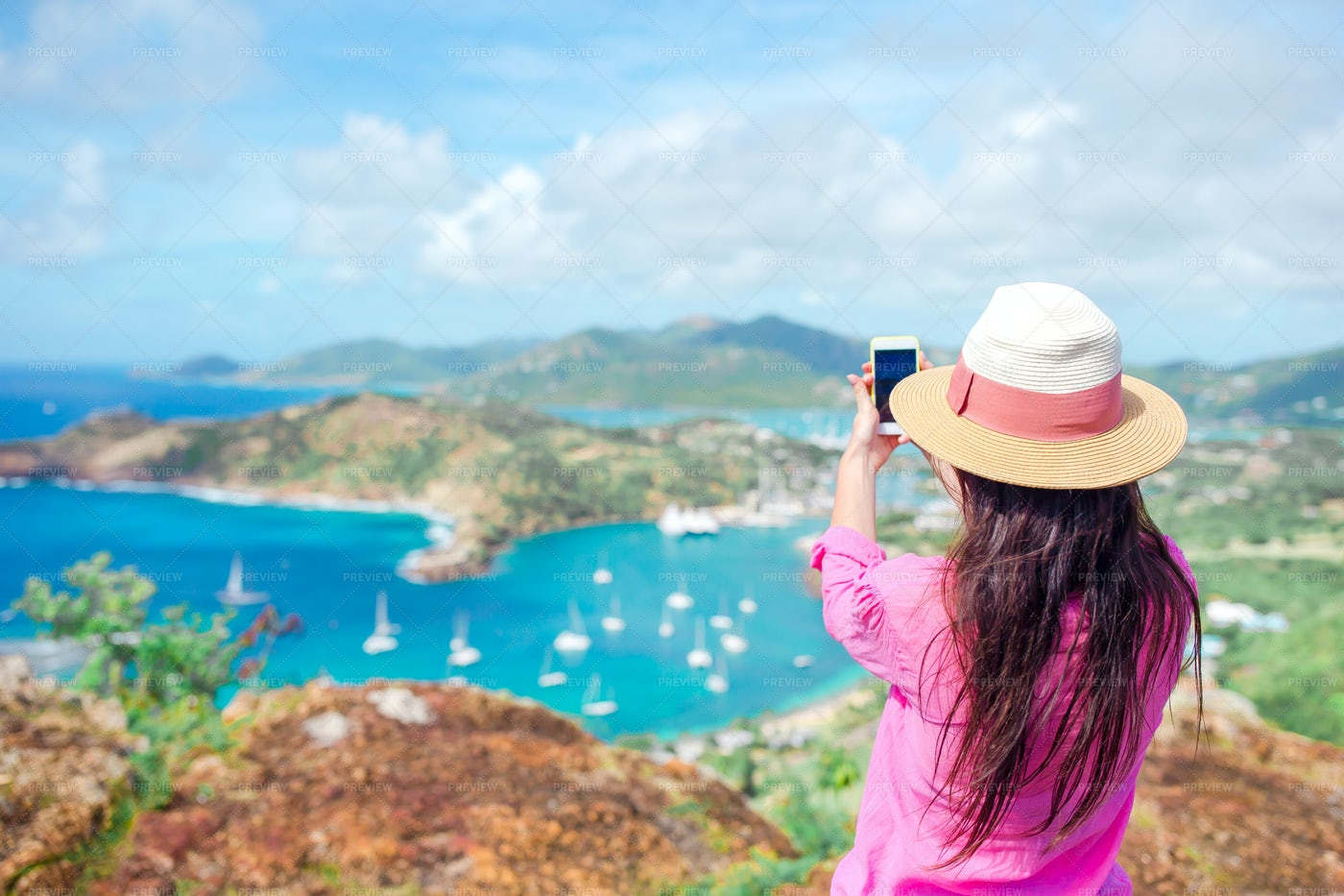 Taking A Picture To English Harbor: Stock Photos