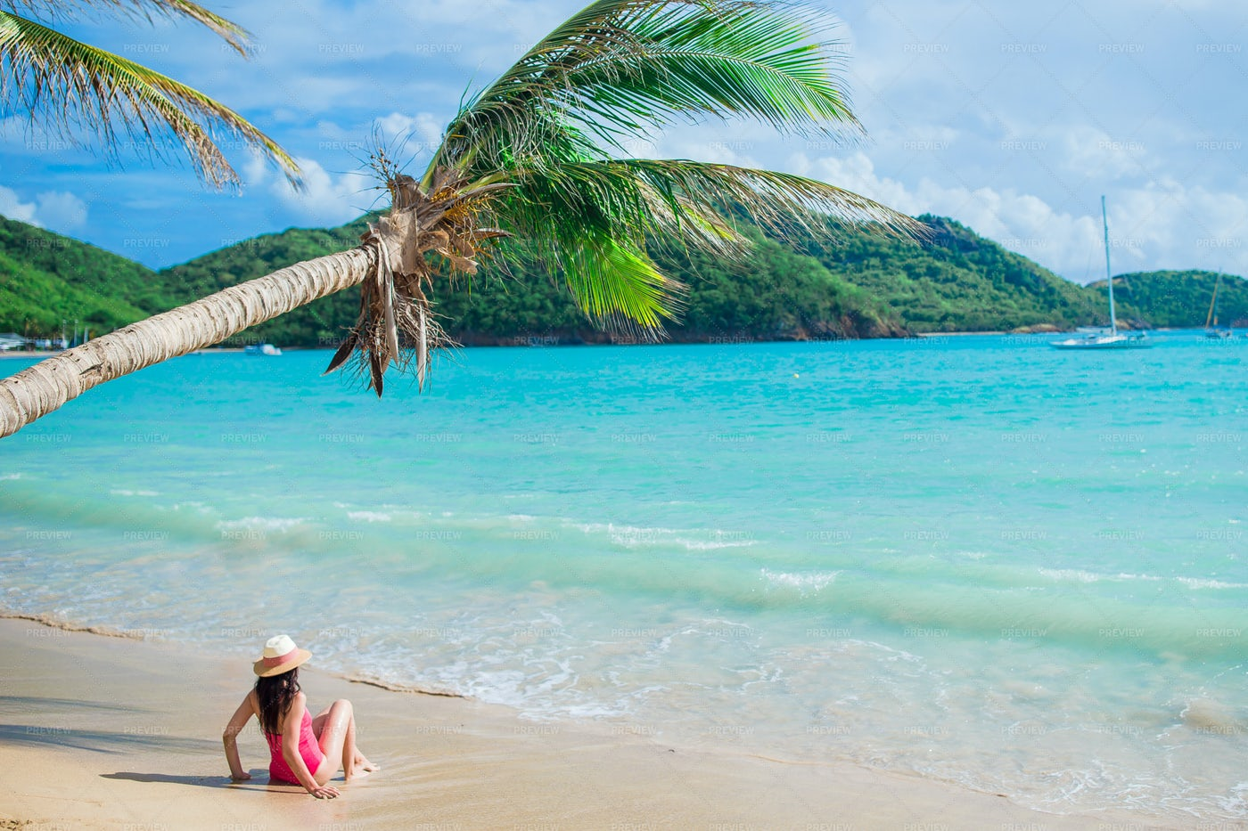 Woman Lying On Tropical Shore: Stock Photos
