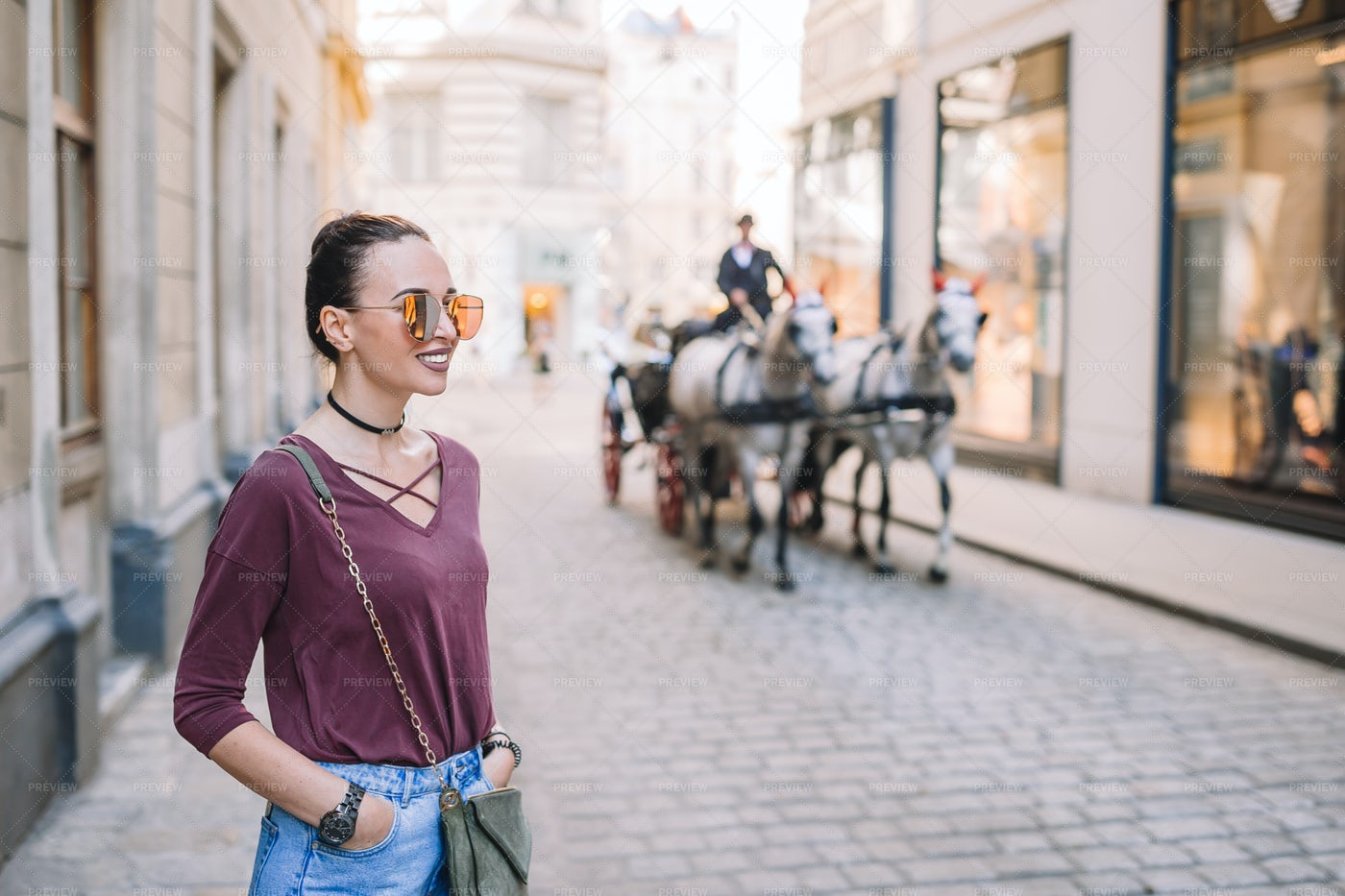 Horse Drawn Carriage On Vienna Street: Stock Photos