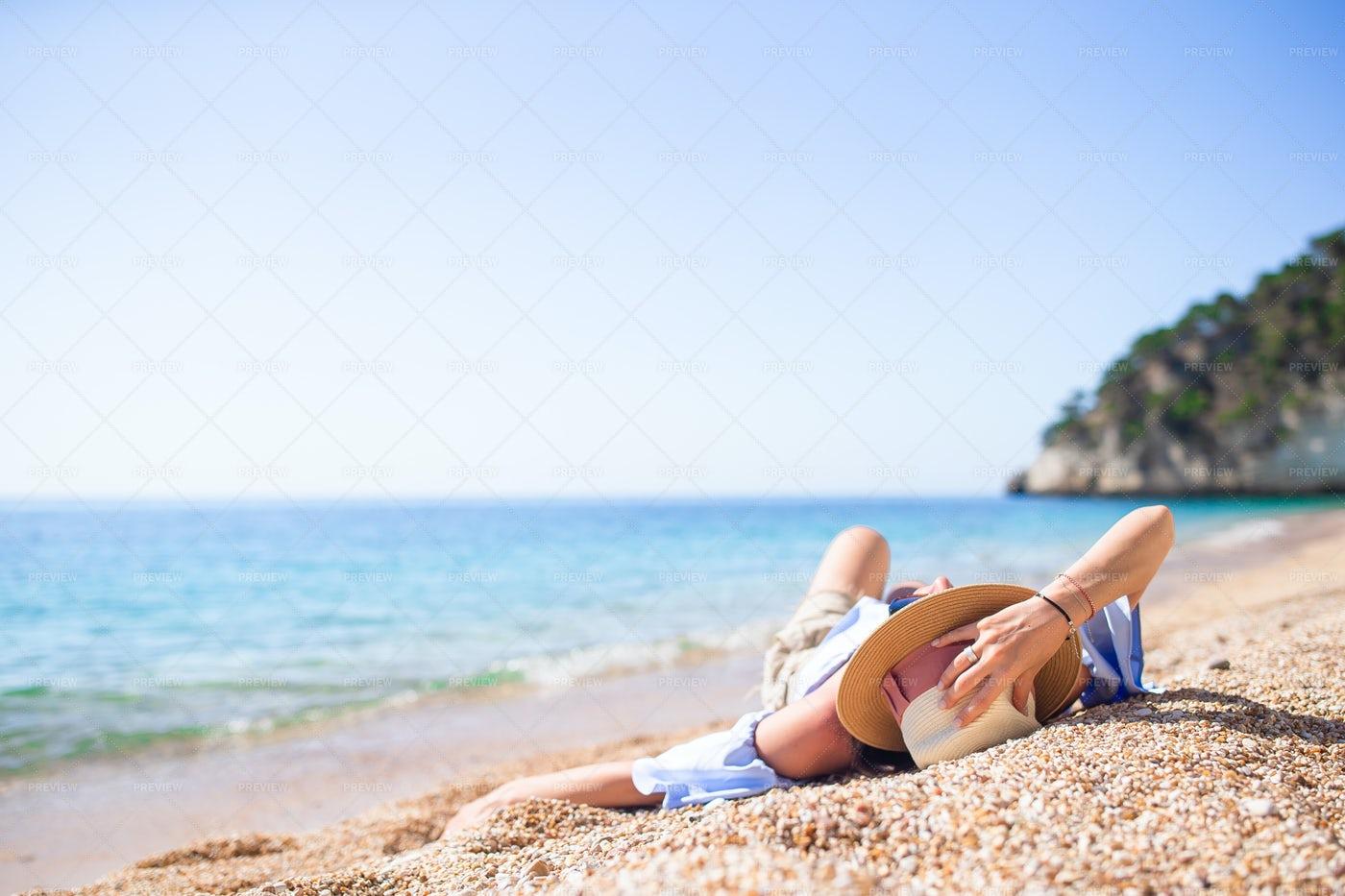Lying In Beach Sand: Stock Photos