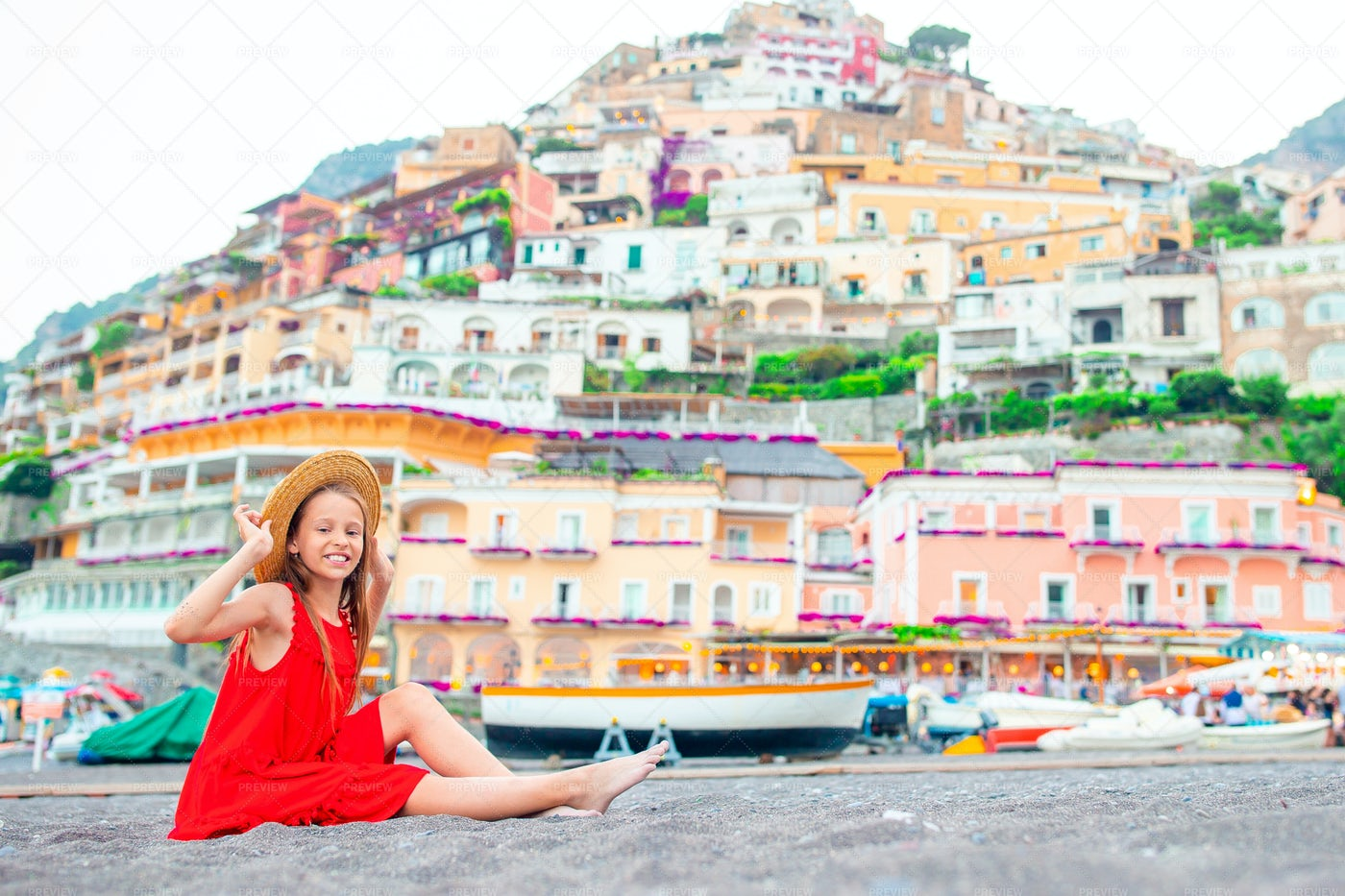 Girl On Positano Vacation: Stock Photos