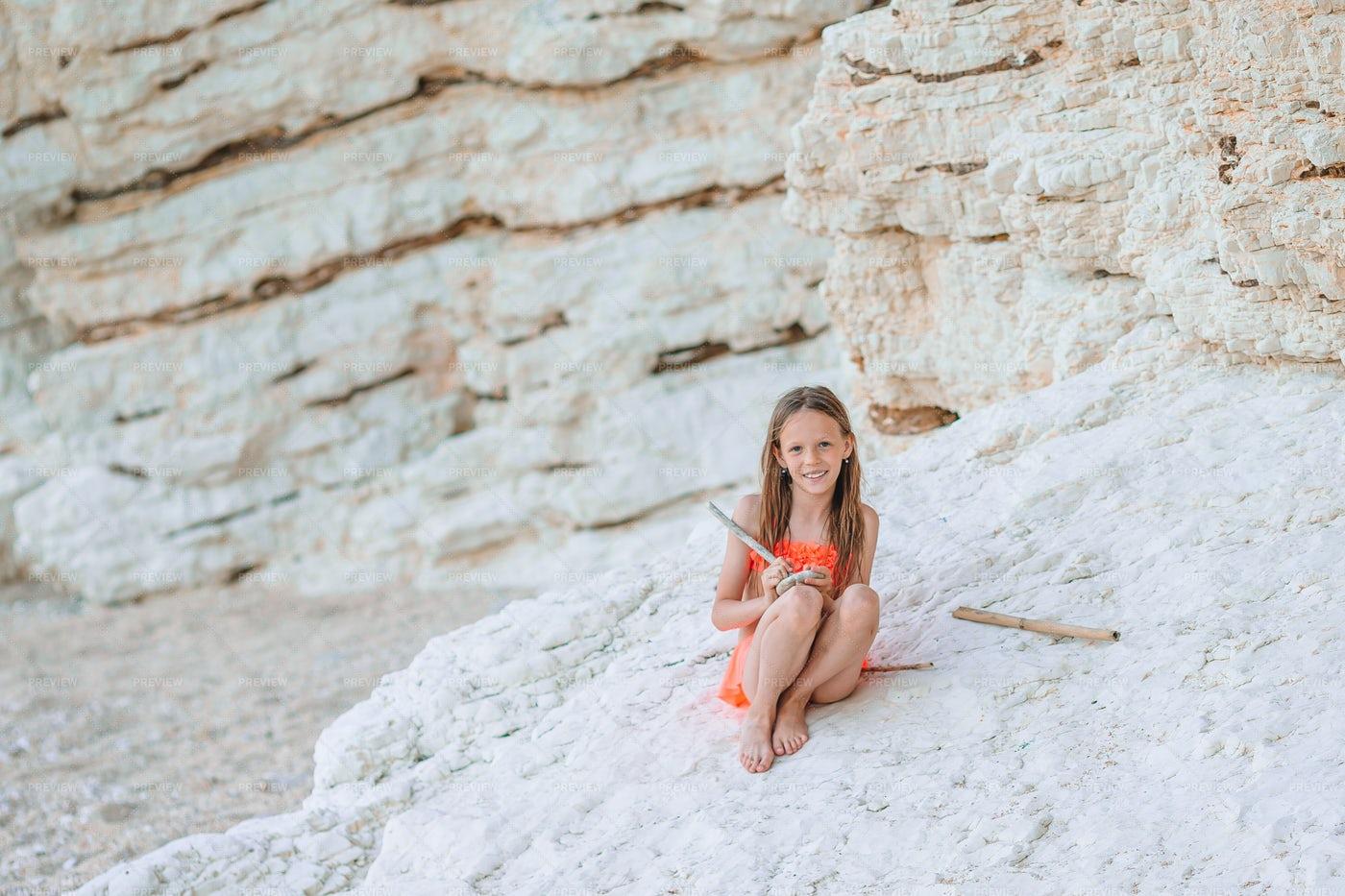 Sat Beside Beach Cliffs: Stock Photos