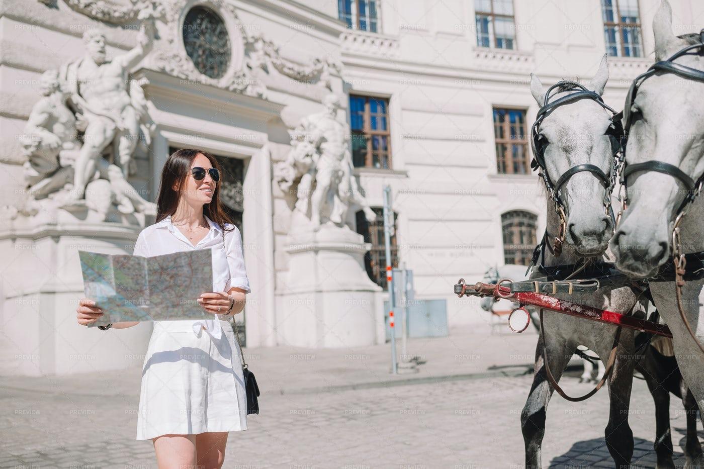 Woman Walking In Vienna: Stock Photos