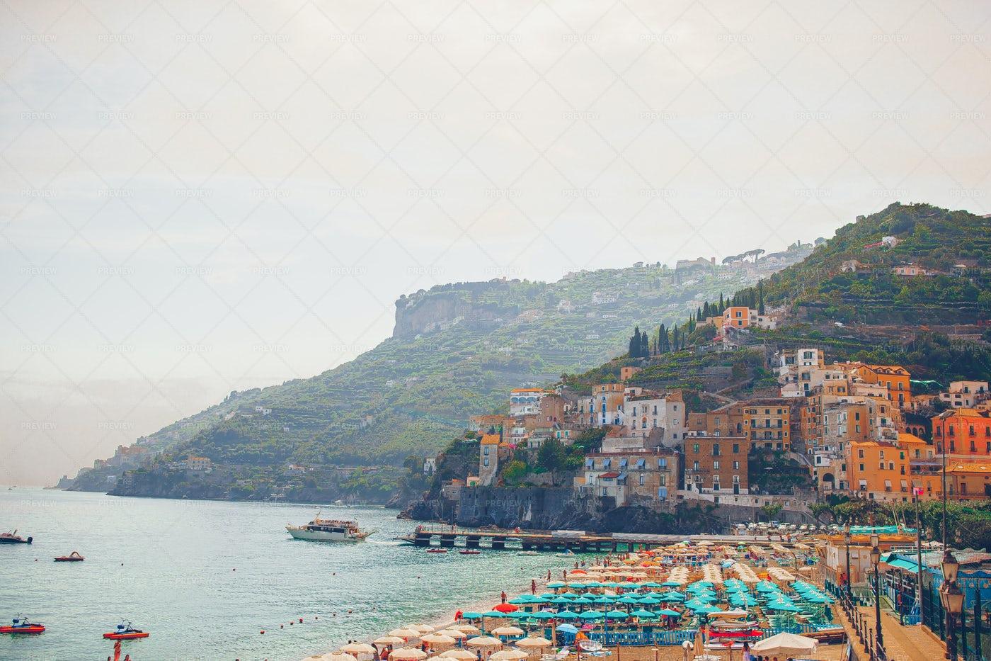 Panoramic View Of Amalfi Town: Stock Photos