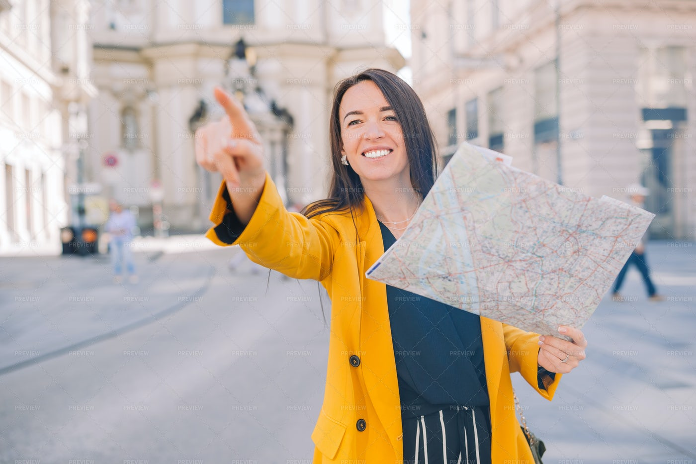 Tourist With Map, Pointing: Stock Photos