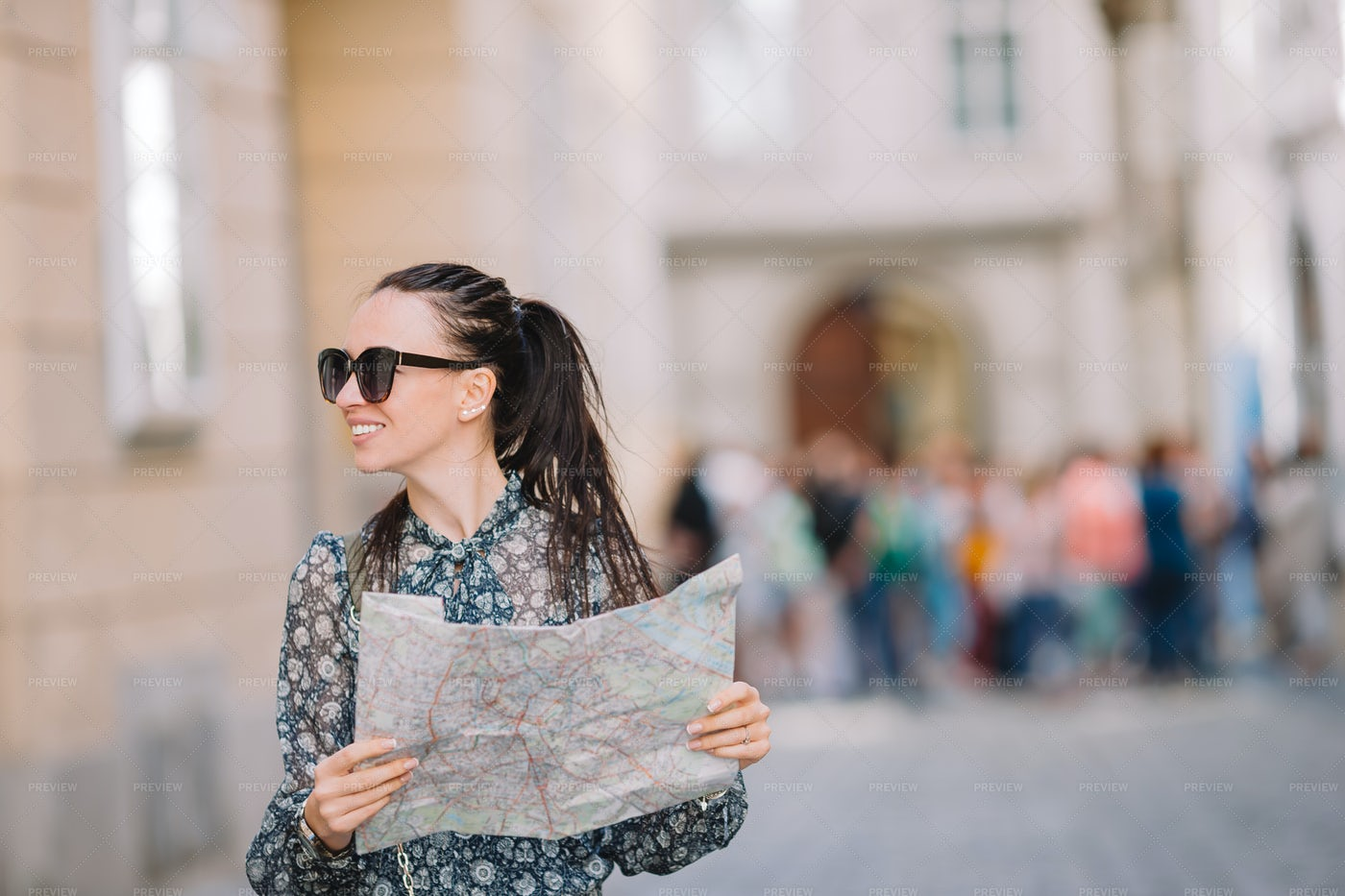 Young Tourist With A Map: Stock Photos