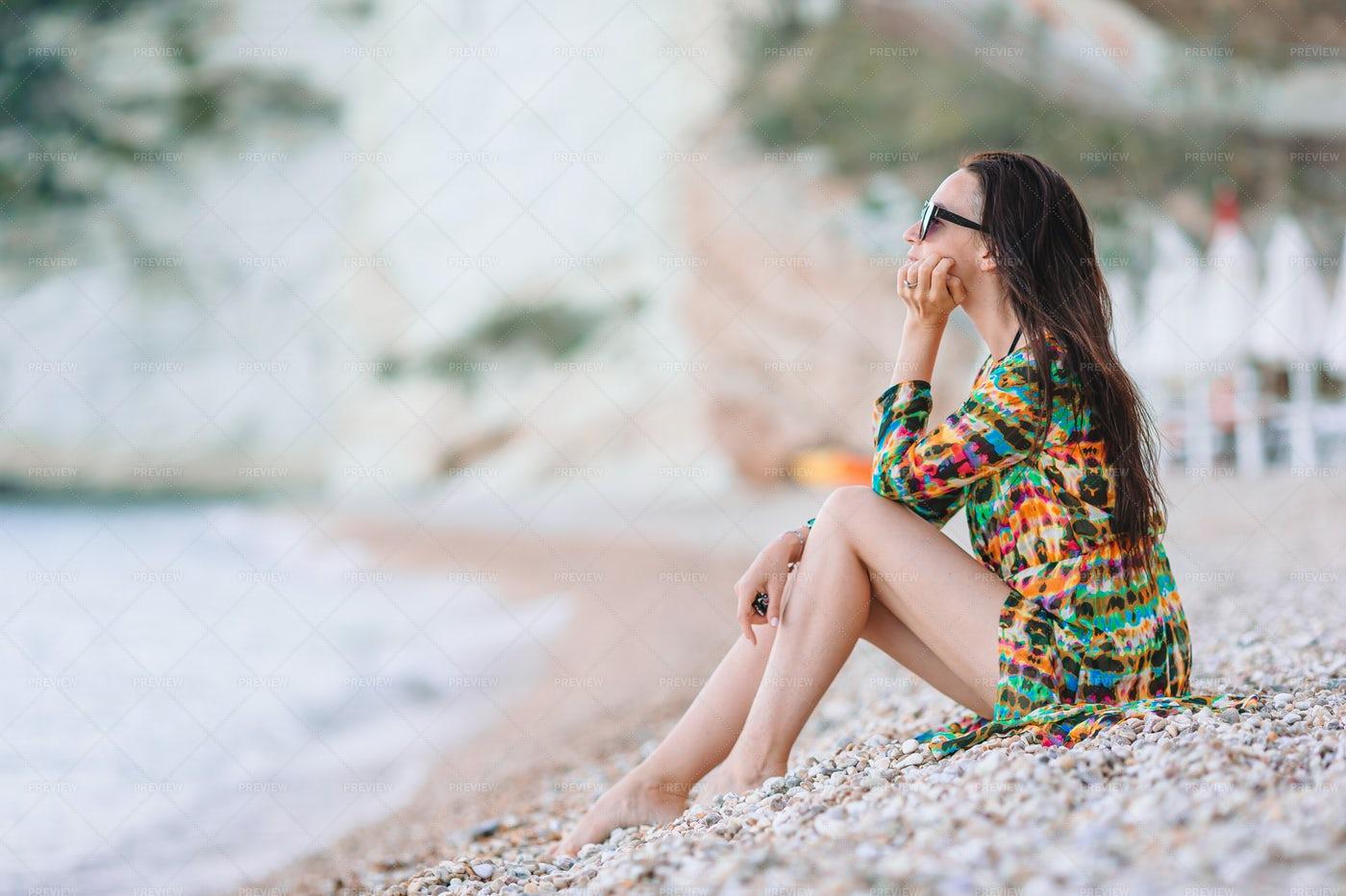 Pensive Woman On Shore: Stock Photos