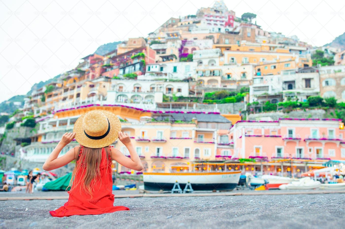 Child Sitting On Amalfi Coast: Stock Photos