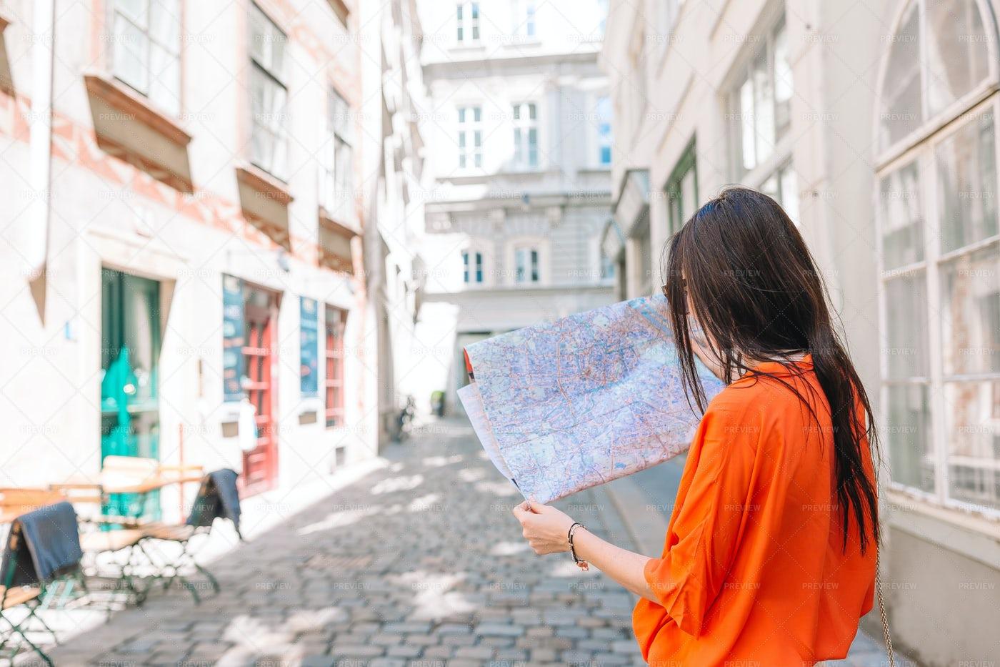 Checking Map Of Vienna: Stock Photos