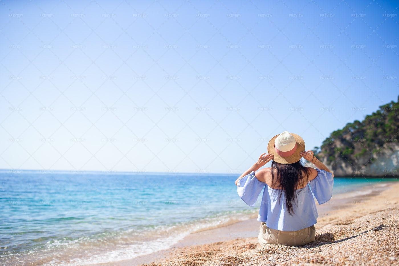 Woman Holds Sun Hat: Stock Photos