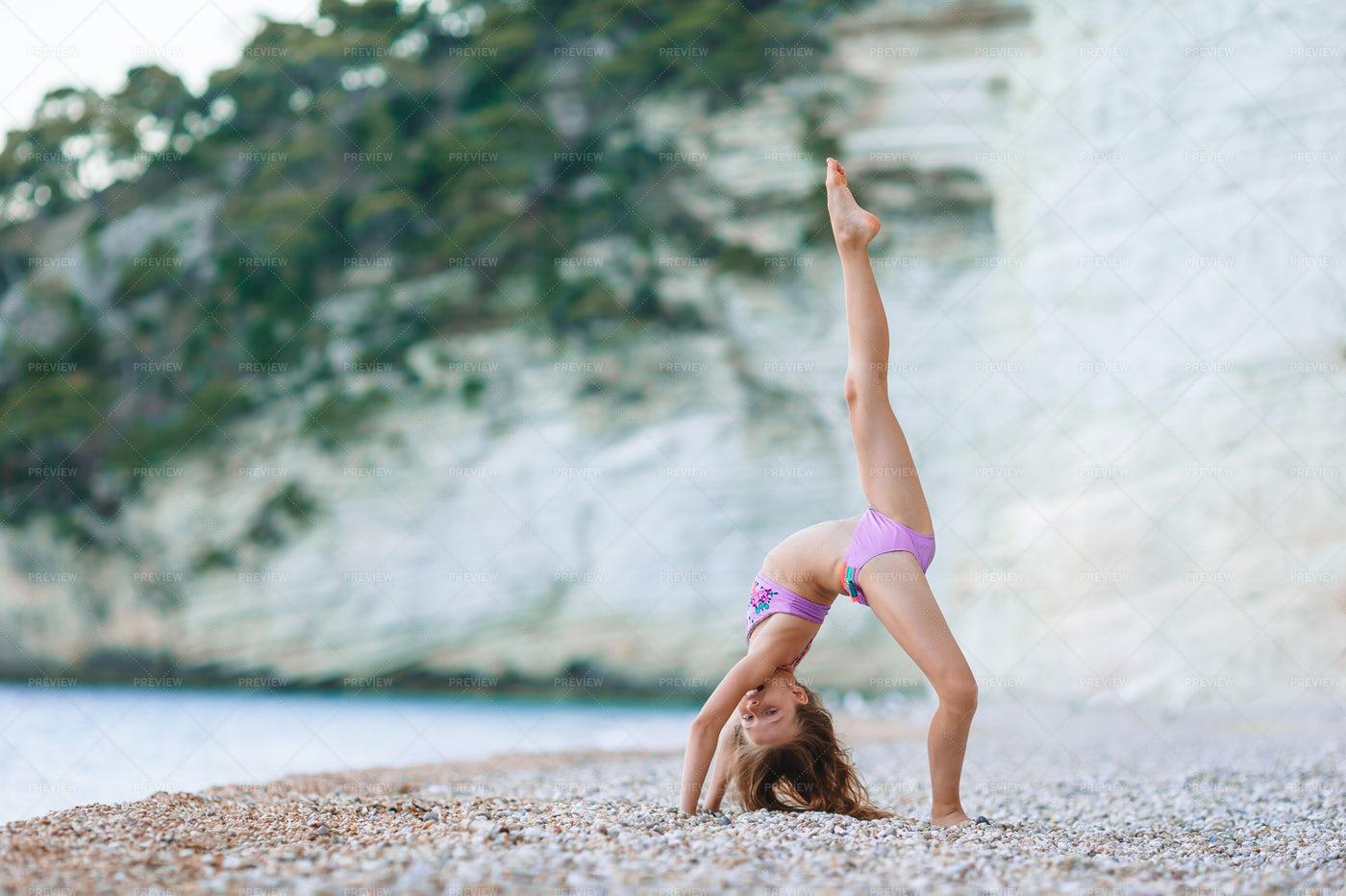 Sporty Girl At The Beach: Stock Photos