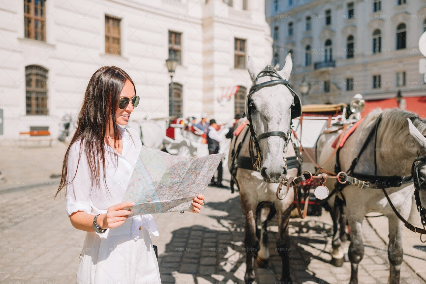 Tourist Looks At Map Of Vienna: Stock Photos