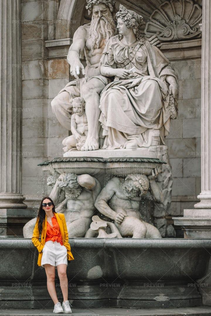 Woman Posing With Neptune Fountain: Stock Photos