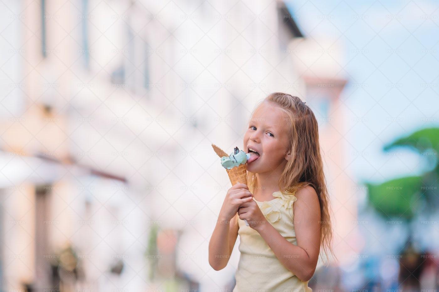 Girl Eating A Gelato Cone: Stock Photos