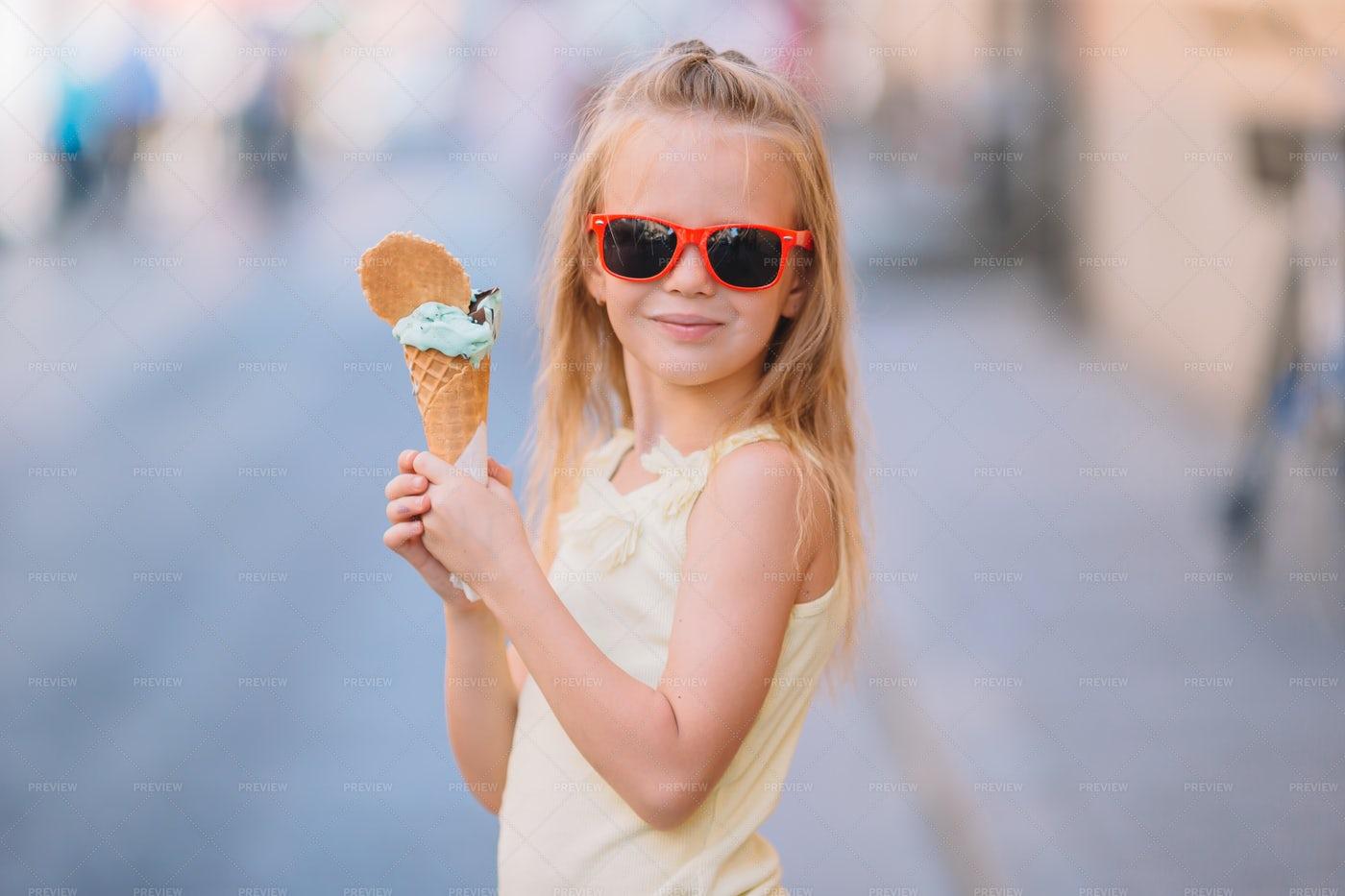Girl With Cone Of Gelato: Stock Photos