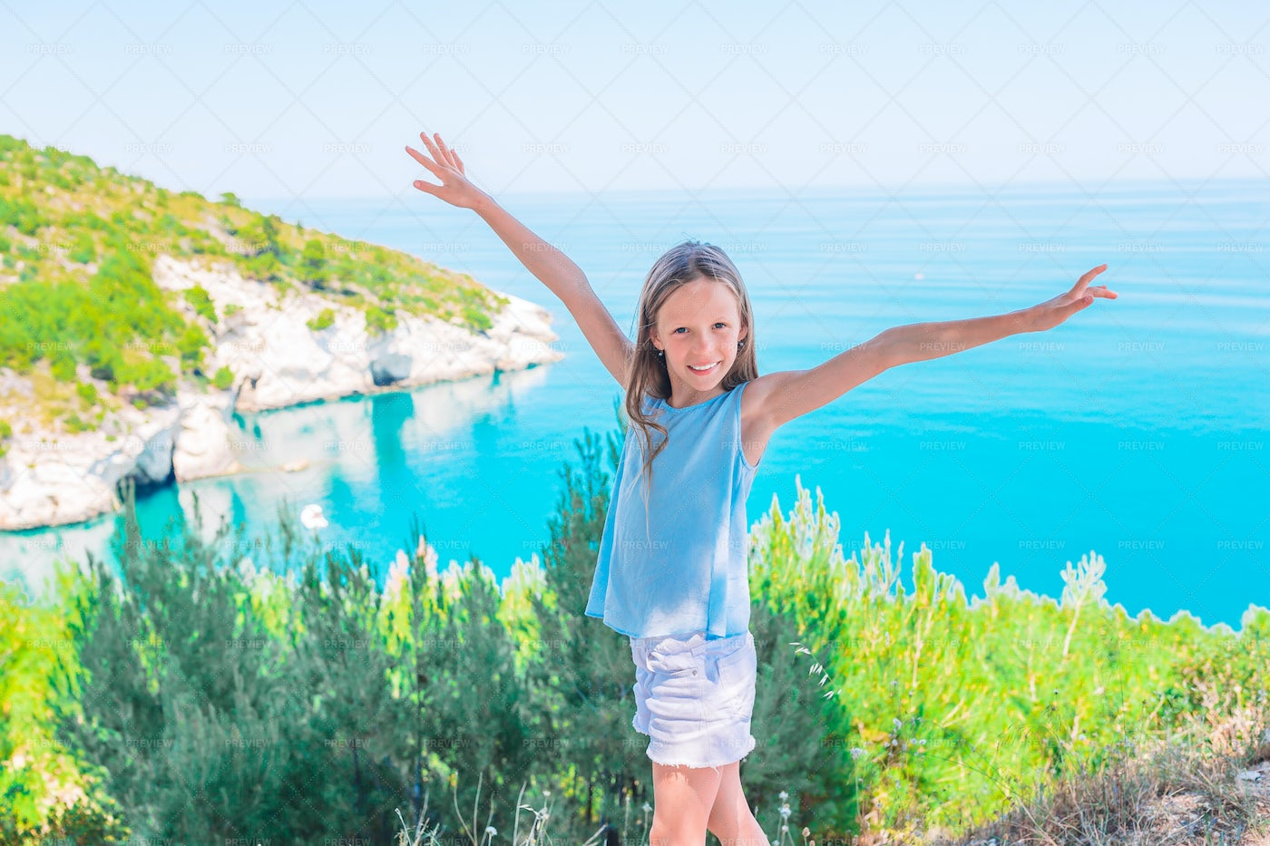 Happy Girl On Summer Vacations: Stock Photos