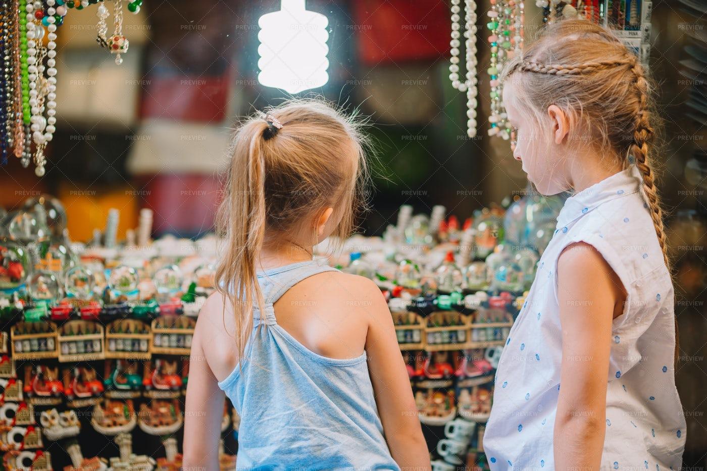 Children In Souvenir Shop: Stock Photos