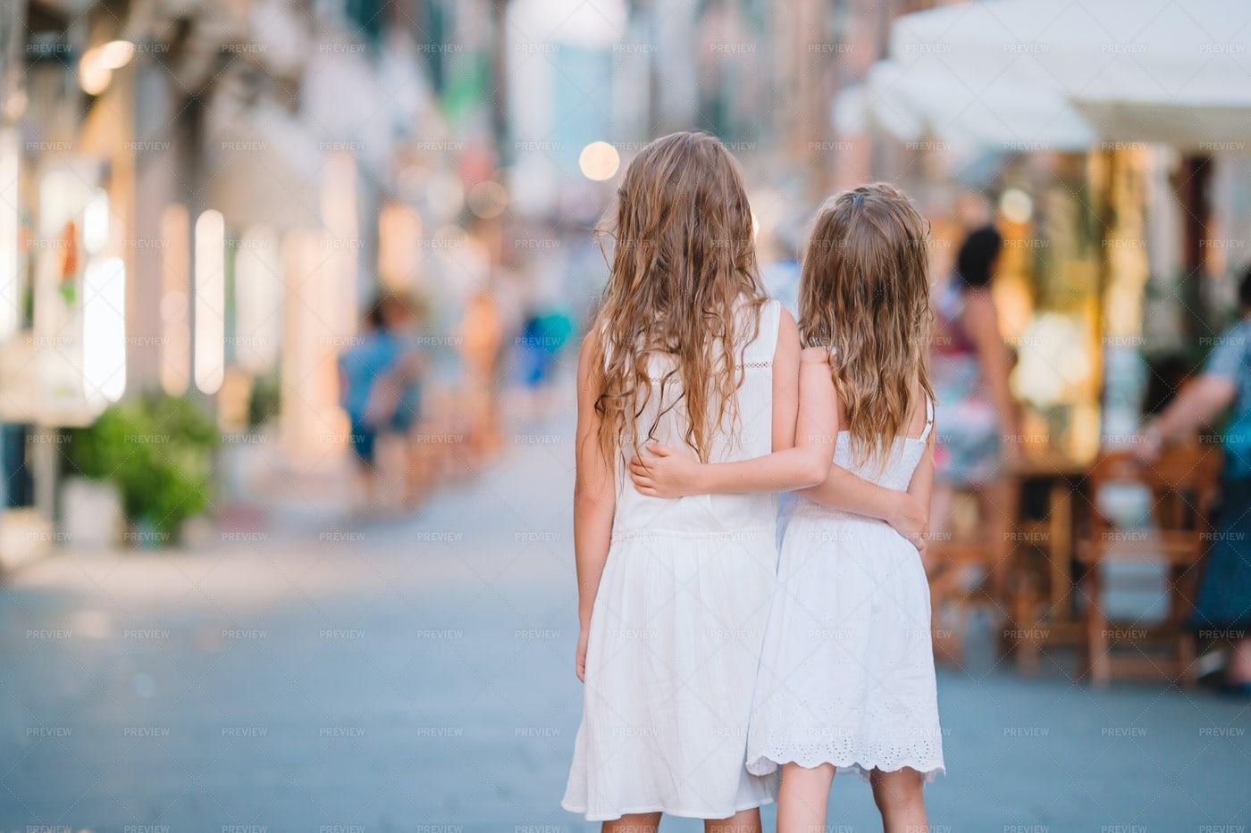 Little Girls In A Street: Stock Photos