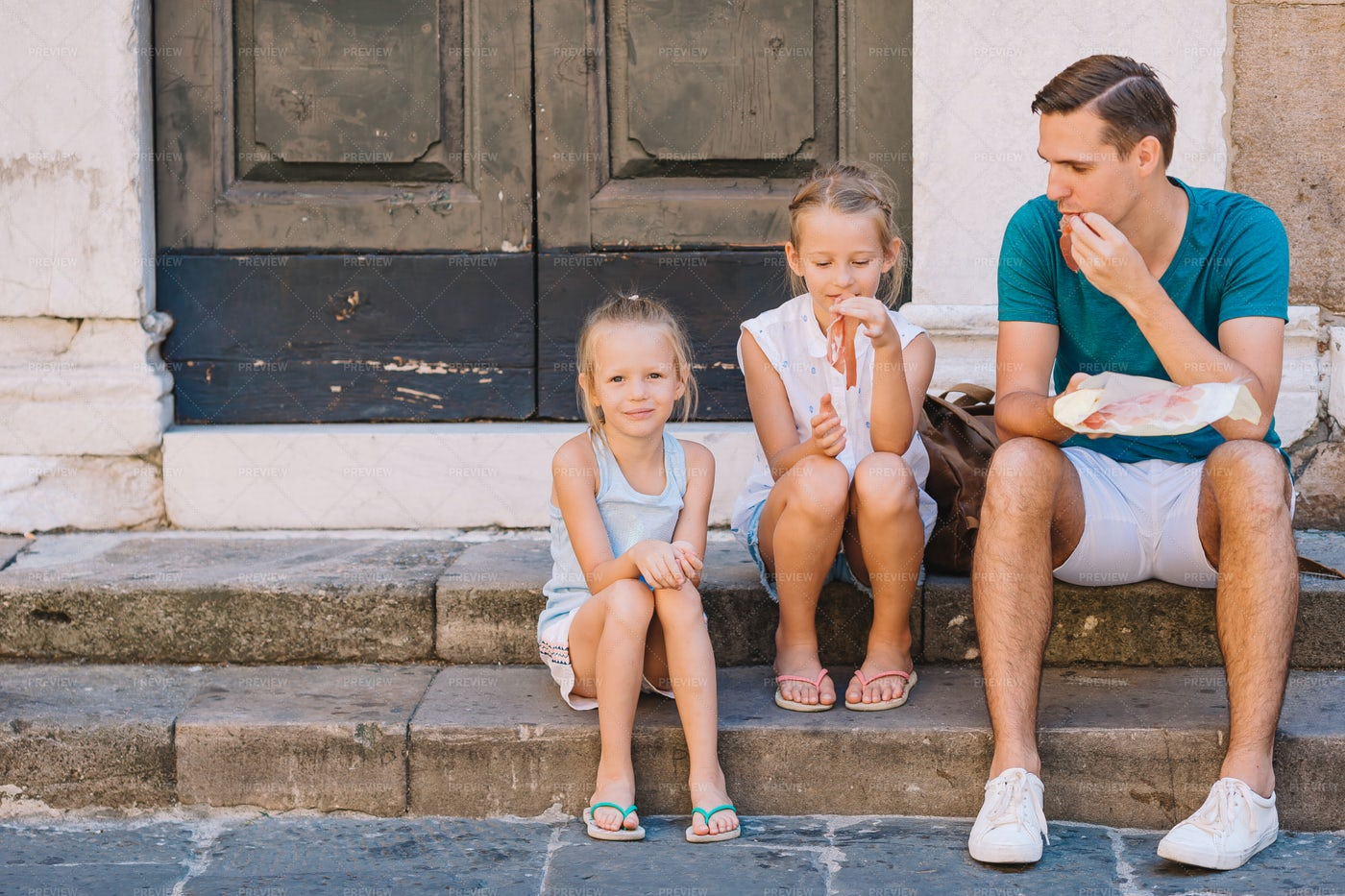 Snacking On The Steps: Stock Photos