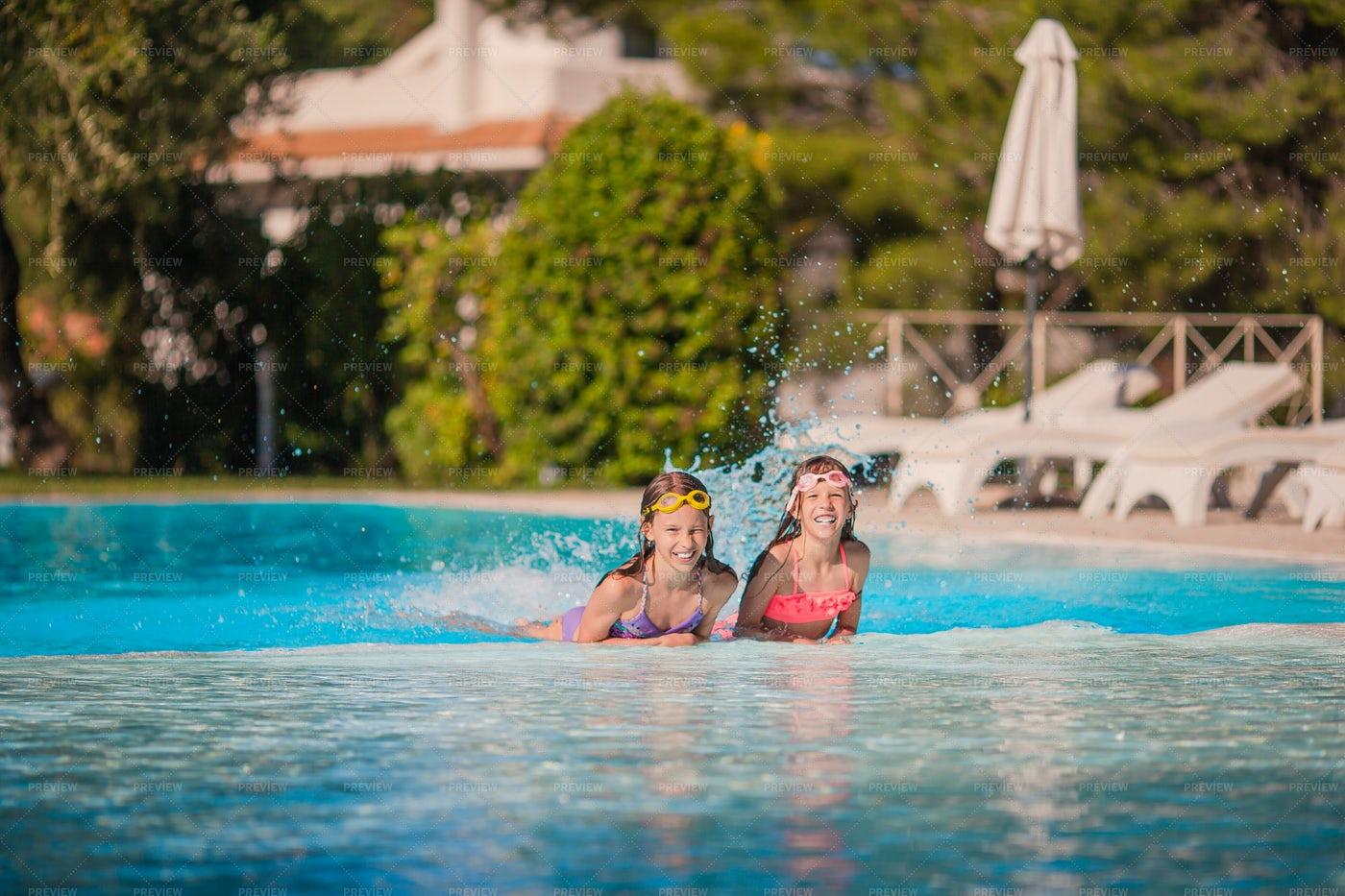 Splashing In The Pool: Stock Photos