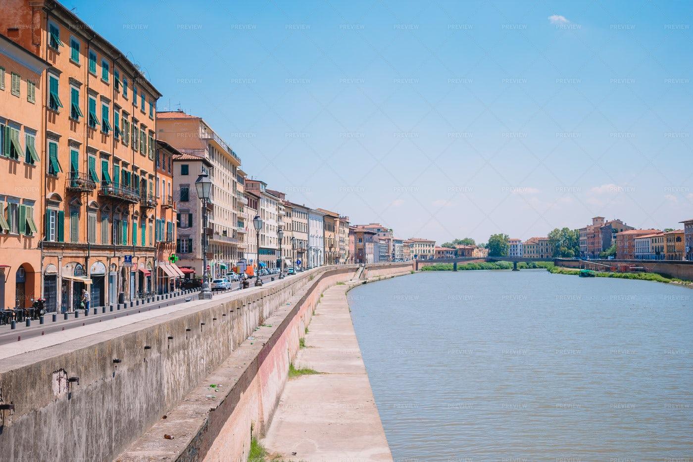 Pisa Town And Arno River: Stock Photos