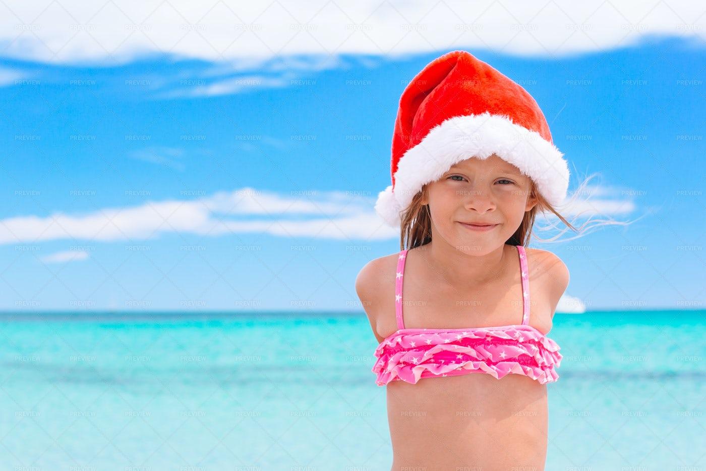 Santa Hat On The Beach: Stock Photos