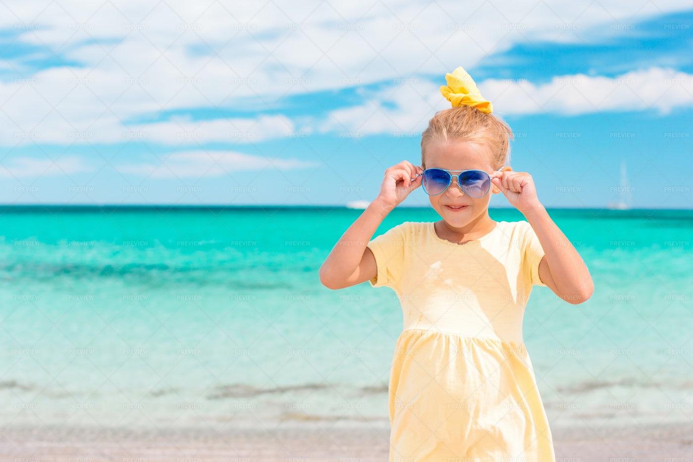Beach Girl In Sunglasses: Stock Photos