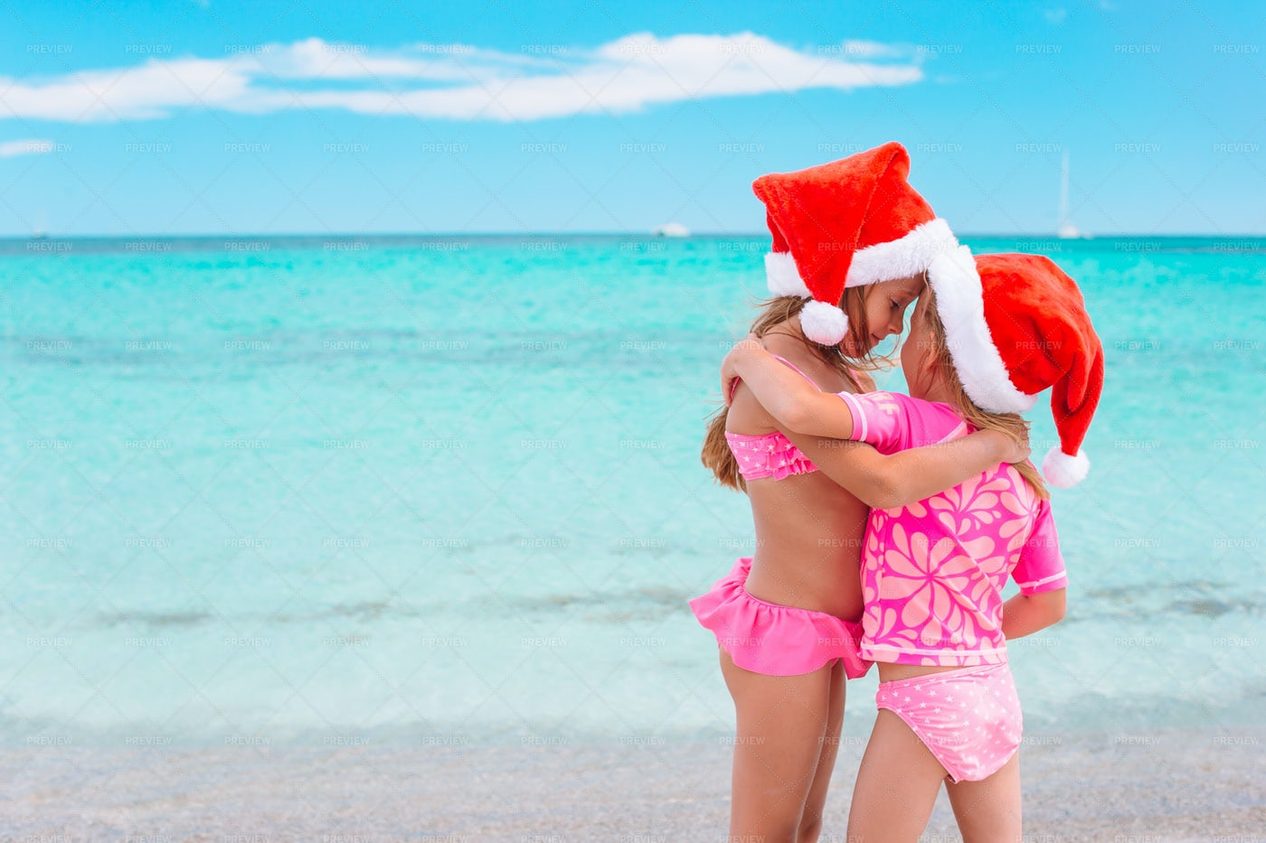 Children Wearing Santa Hats: Stock Photos