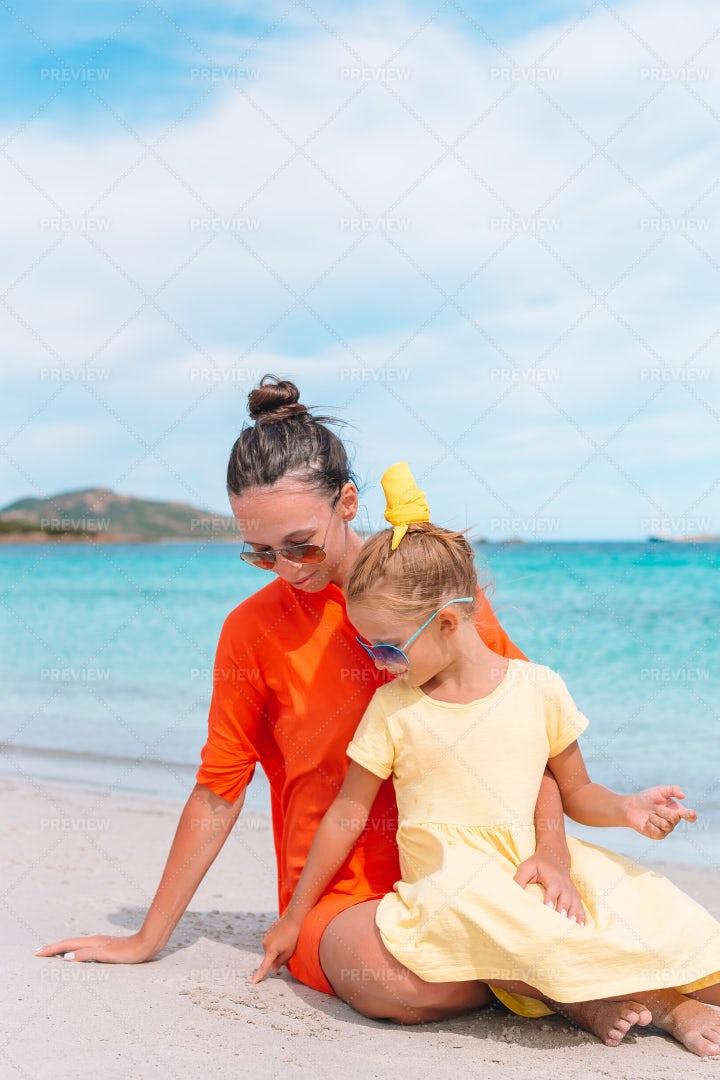 Family At Beach Shore: Stock Photos