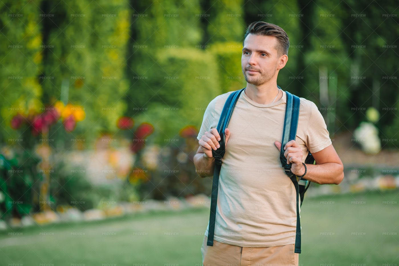 Wearing A Backpack Outdoors: Stock Photos
