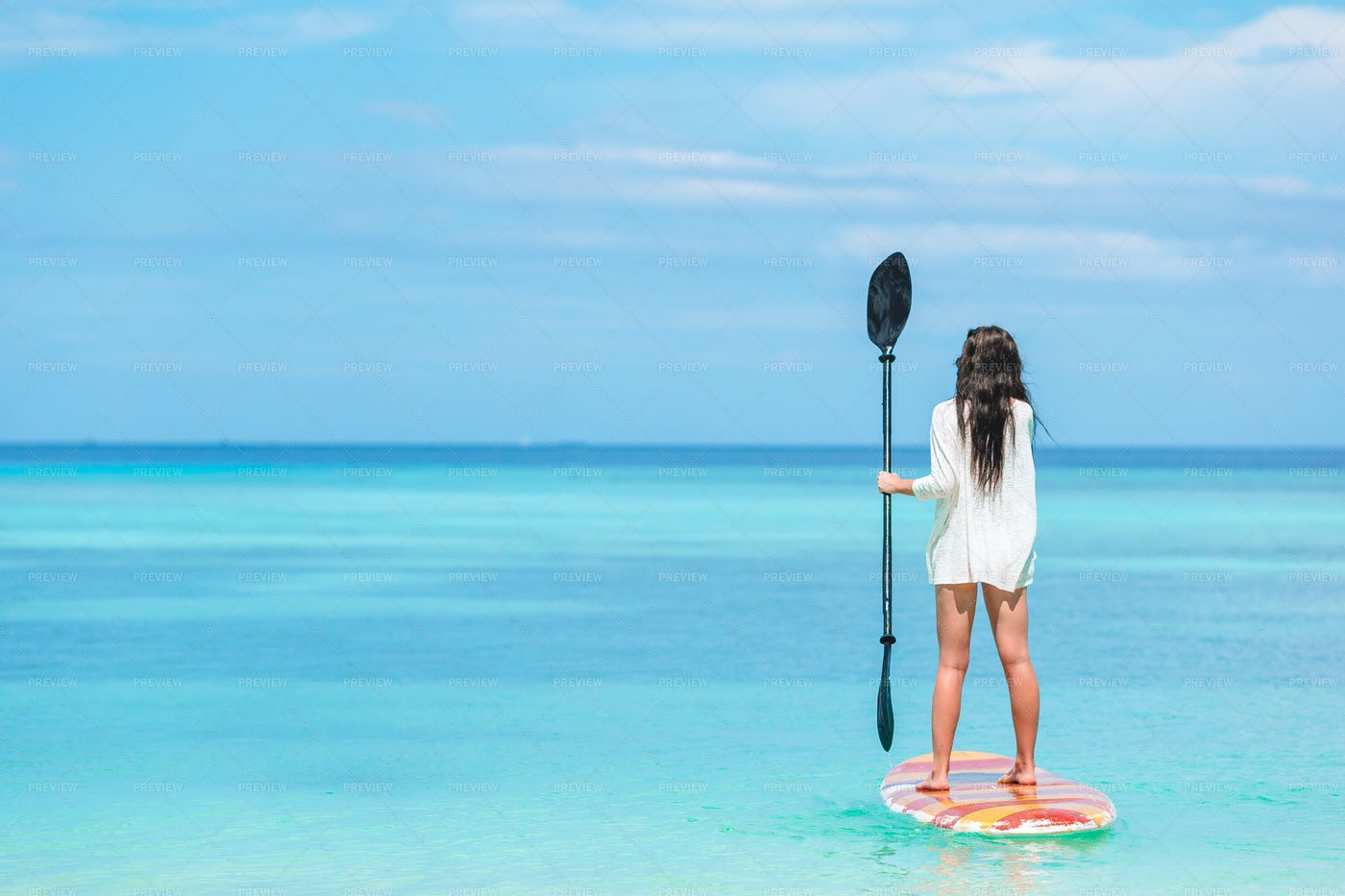 Woman Standing On A Paddle: Stock Photos