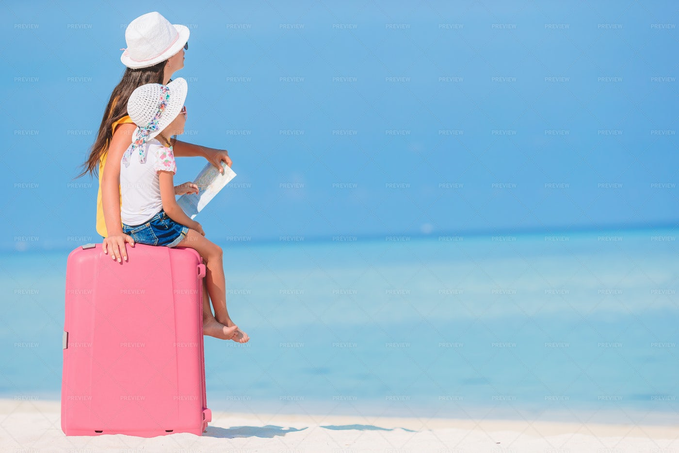 Mom And Daughter On Adventure: Stock Photos