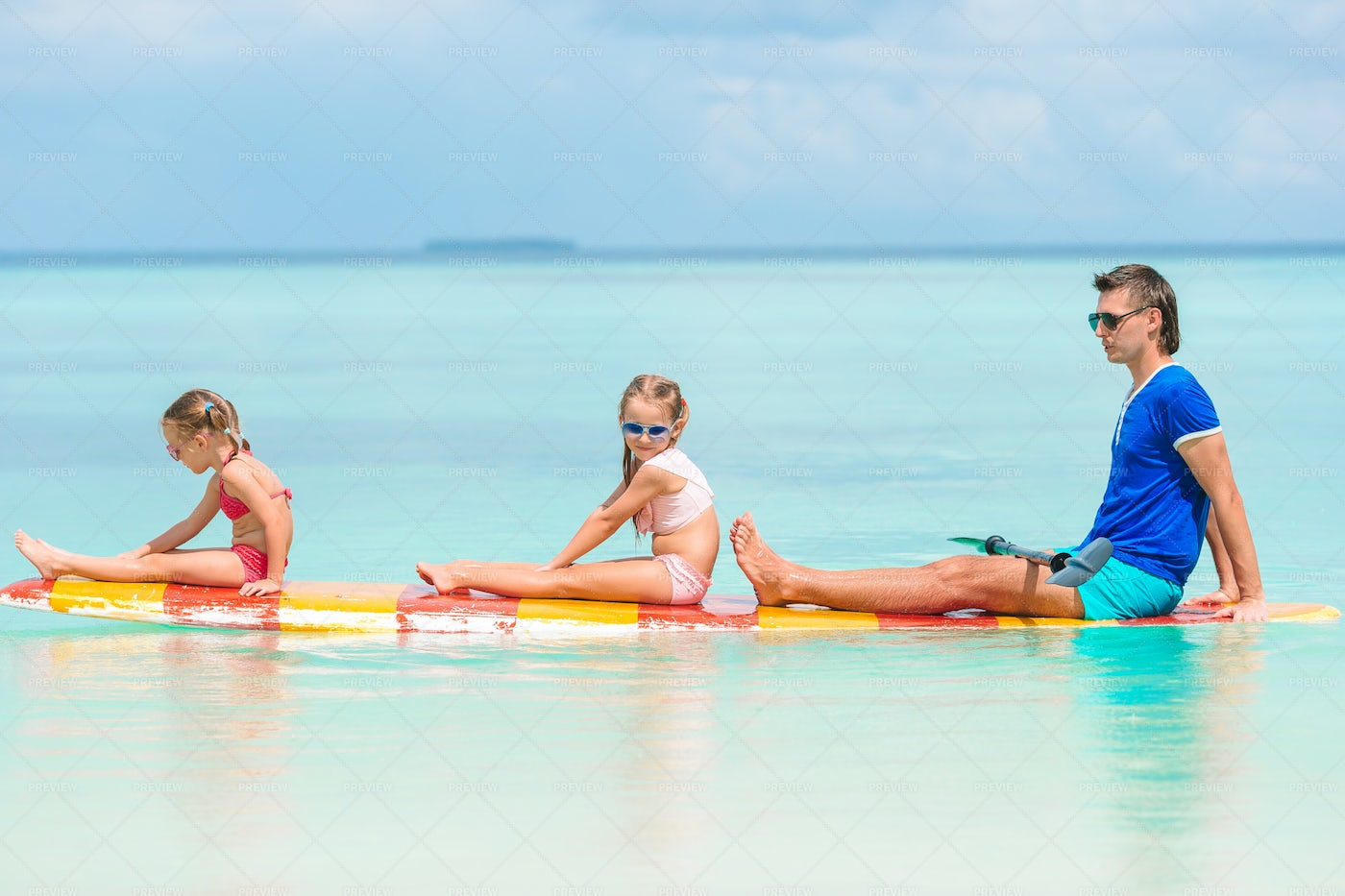 Paddle Boarding In The Caribbean: Stock Photos