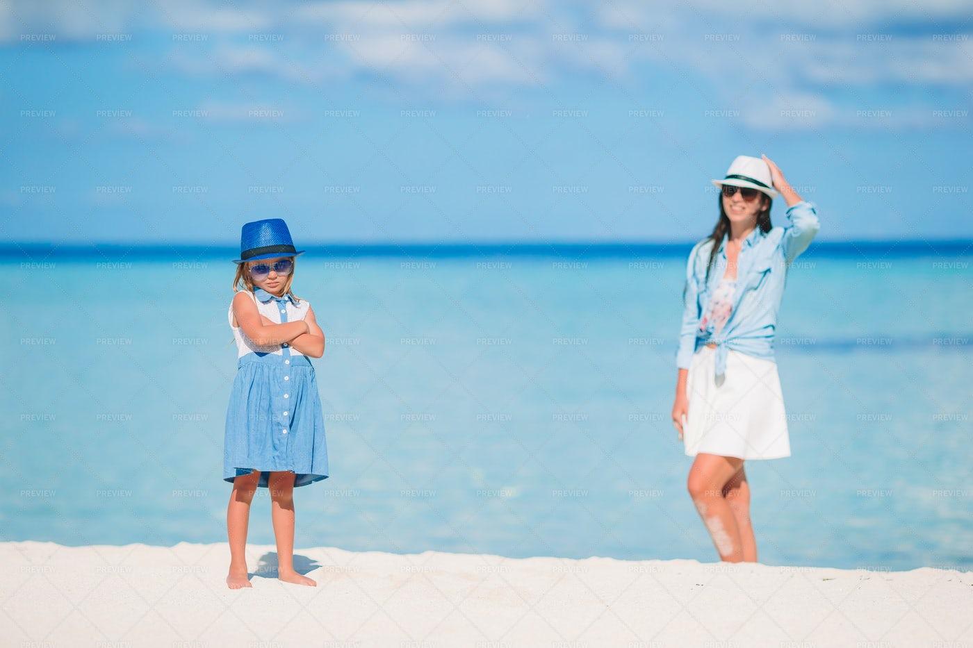 Stubborn Child On The Beach: Stock Photos