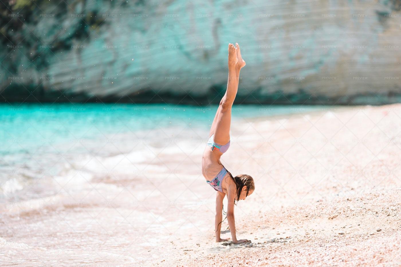 Active Girl At The Beach: Stock Photos