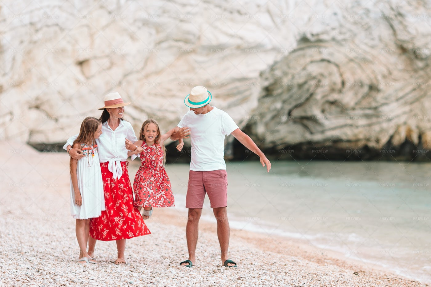 Happy Family Enjoying Vacations: Stock Photos