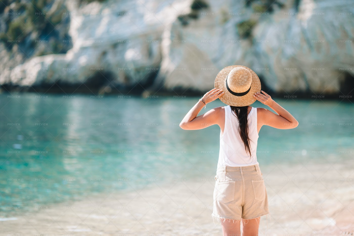 Woman Holding Straw Hat: Stock Photos