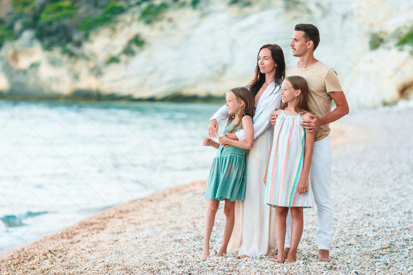 Family Admiring The Ocean: Stock Photos