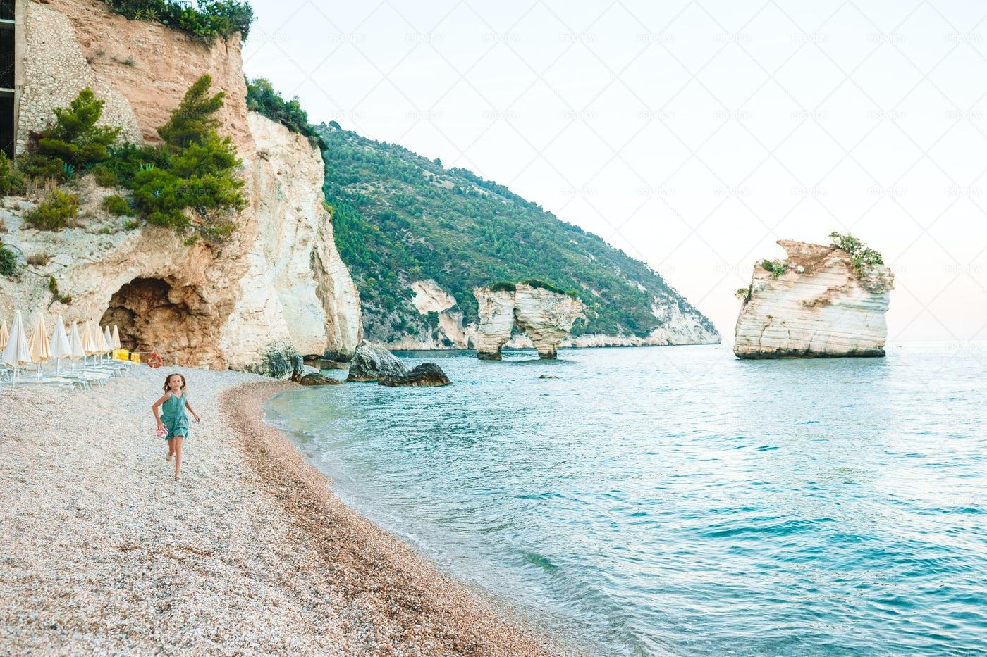 Kid Runs On Beach: Stock Photos