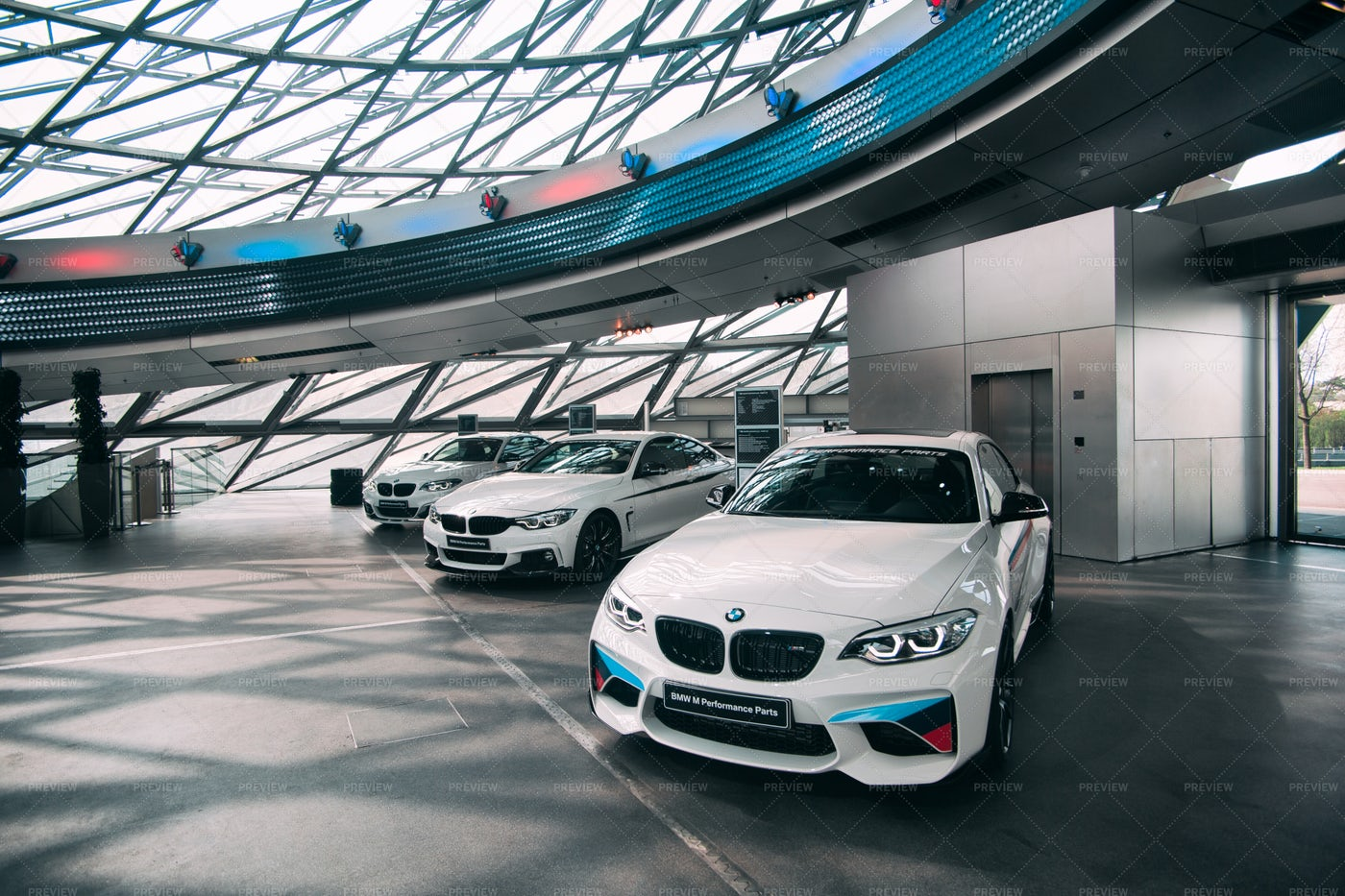 Cars In The BMW Welt: Stock Photos
