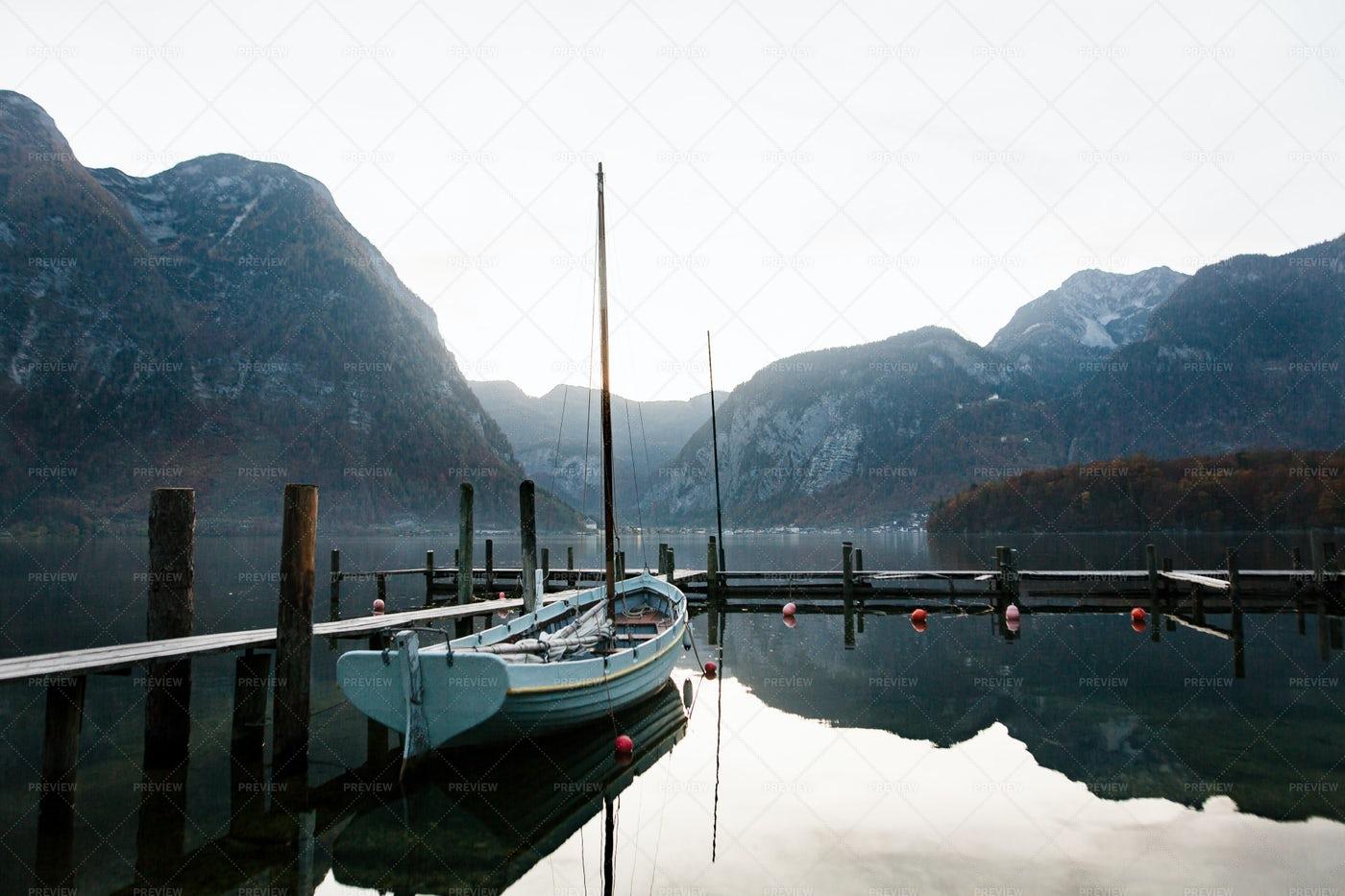 Sailboat On A Lake In Hallstatt: Stock Photos