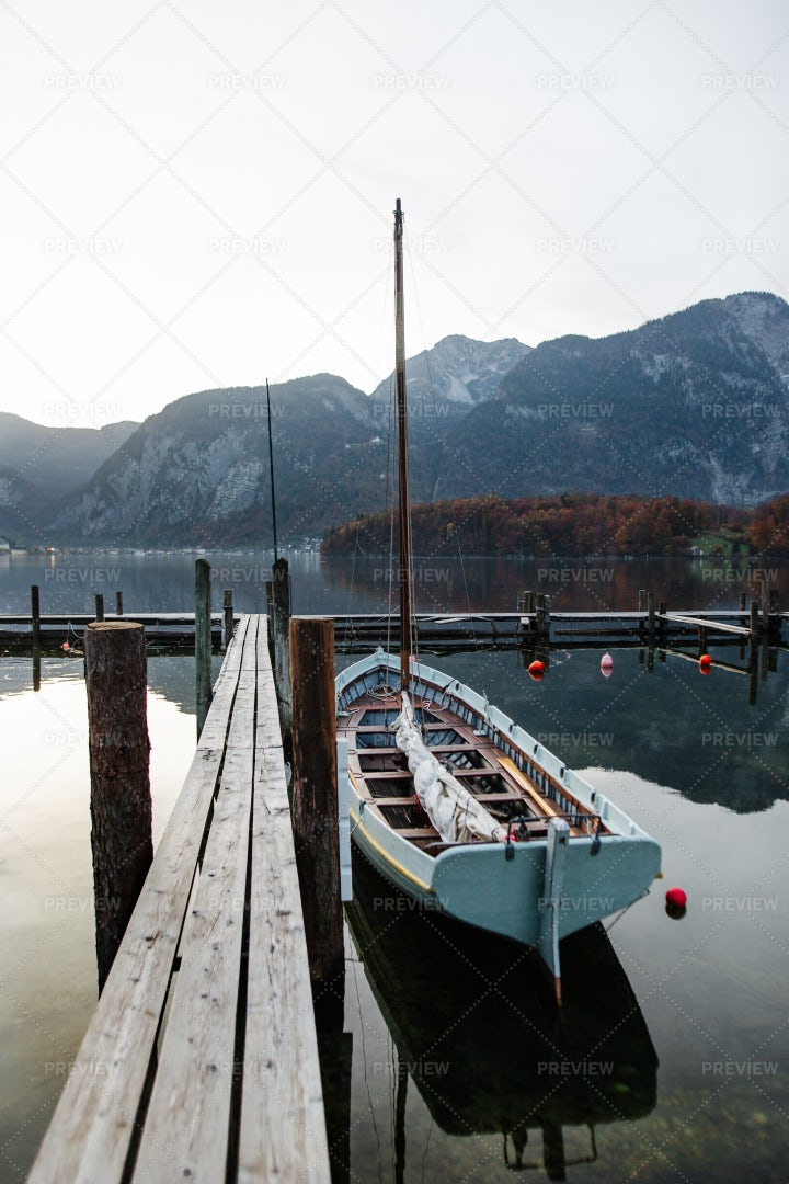 Dock On Halsstatt Lake: Stock Photos